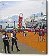 Olympic 2012 Stadium Security Acrylic Print by Peter Allen