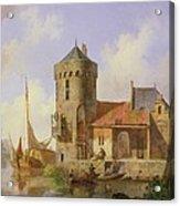 On The Rhine Acrylic Print by Cornelius Springer
