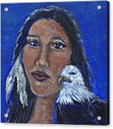 Onawa Native American Woman Of Wisdom Acrylic Print by The Art With A Heart By Charlotte Phillips