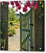 Open Garden Gate With Roses Acrylic Print by Elena Elisseeva