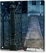 Open Iron Gate To Old House Acrylic Print by Jill Battaglia