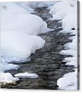 Open Running Creek With Snow Covered Acrylic Print by Michael Interisano