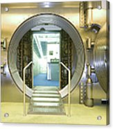 Open Vault At A Bank Acrylic Print by Adam Crowley