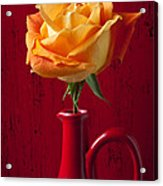 Orange Rose In Red Pitcher Acrylic Print by Garry Gay