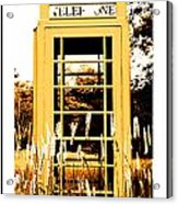 Orange Telephone Booth In The Field Acrylic Print by Kara Ray