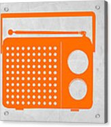 Orange Transistor Radio Acrylic Print by Naxart Studio