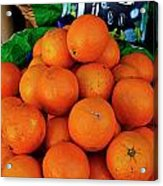 Oranges Displayed In A Grocery Shop Acrylic Print by Sami Sarkis