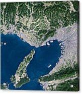 Osaka, Satellite Image Acrylic Print by Planetobserver