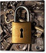 Padlock Over Keys Acrylic Print by Carlos Caetano