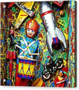 Painted Box Full Of Old Toys Acrylic Print by Garry Gay