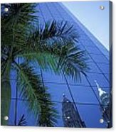 Palm Tree And Reflection Of Petronas Acrylic Print by Axiom Photographic