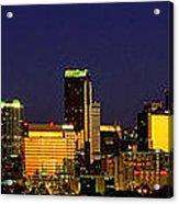 Panoramic Charlotte Nc Skyline Acrylic Print by Patrick Schneider