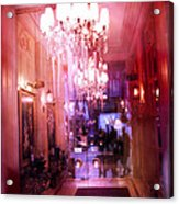 Paris Posh Pink Red Hotel Interior Chandelier Acrylic Print by Kathy Fornal