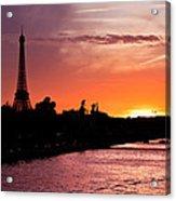Paris Sunset Acrylic Print by Mircea Costina Photography