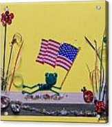 Patriot Frog Acrylic Print by Gracies Creations