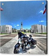 Patriot Guard Rider At The Houston National Cemetery Acrylic Print by David Morefield