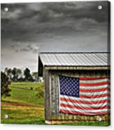 Patriotic Shed Acrylic Print by Kathy Jennings
