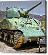 Patton M4 Sherman Acrylic Print by Jason Abando