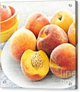 Peaches On Plate Acrylic Print by Elena Elisseeva