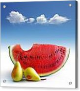Pears And Melon Acrylic Print by Carlos Caetano