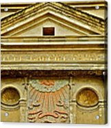 Pediment Of Oldest High School In France Acrylic Print by Kirsten Giving