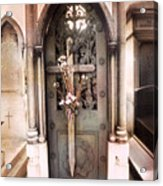 Pere La Chaise Cemetery Ornate Mausoleum Acrylic Print by Kathy Fornal