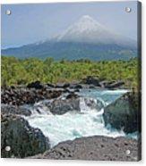 Petrohue Falls And Osorno Volcano Acrylic Print by Pcontreras