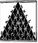 Petrus Apianus's Pascal's Triangle, 1527 Acrylic Print by Dr Jeremy Burgess