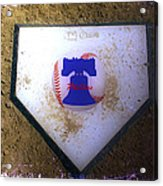 Phillies Home Plate Acrylic Print by Bill Cannon
