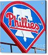 Phillies Logo Acrylic Print by Carol Christopher