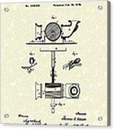 Phonograph 1878 Patent Art  Acrylic Print by Prior Art Design