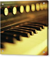 Piano Keys And Buttons Acrylic Print by photographer, loves art, lives in Kyoto