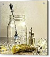 Pickle With A Jar And Antique Salt And Pepper Shakers Acrylic Print by Sandra Cunningham