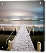 Pier At Night Acrylic Print by daitoZen