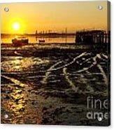Pier At Sunset Acrylic Print by Carlos Caetano