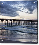Pier In The Evening Acrylic Print by Sandy Keeton