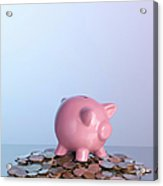 Piggy Bank On Pile Of Coins Acrylic Print by Arb