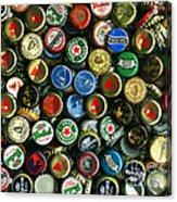 Pile Of Beer Bottle Caps . 8 To 10 Proportion Acrylic Print by Wingsdomain Art and Photography