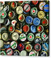 Pile Of Beer Bottle Caps . 9 To 16 Proportion Acrylic Print by Wingsdomain Art and Photography
