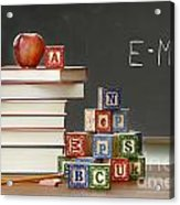 Pile Of Books With Wooden Blocks Acrylic Print by Sandra Cunningham