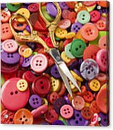 Pile Of Buttons With Scissors  Acrylic Print by Garry Gay