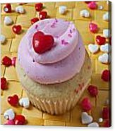 Pink Cupcake With Candy Hearts Acrylic Print by Garry Gay