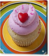 Pink Cupcake With Red Heart Acrylic Print by Garry Gay