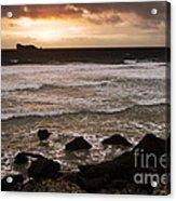 Pink Granite Coast At Sunset Acrylic Print by Heiko Koehrer-Wagner