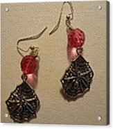 Pink Spider Earrings Acrylic Print by Jenna Green
