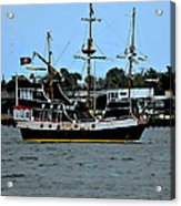 Pirate Ship Of The Matanzas Acrylic Print by DigiArt Diaries by Vicky B Fuller