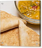 Pita Bread With Brocoli Cheese Dip Acrylic Print by Andee Design