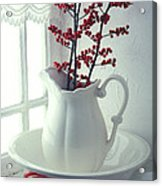 Pitcher With Red Berries  Acrylic Print by Garry Gay