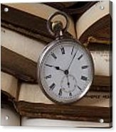 Pocket Watch On Pile Of Books Acrylic Print by Garry Gay