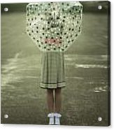 Polka Dotted Umbrella Acrylic Print by Joana Kruse